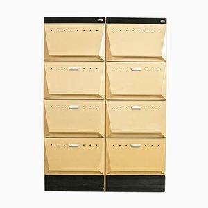 Muebles archivadores alfabéticos vintage de Olivetti Synthesis, años 80. Juego de 2