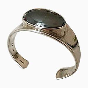 Sterling Silver Bracelet with Black Stone #19 by Bent Knudsen