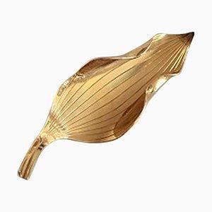 Blattförmige Brosche in 18 Karat Gold von Gertrud Engel für Anton Michelsen