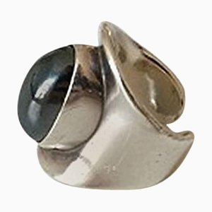 Sterling Silver #4 Ring with Hematite from Bent Knudsen