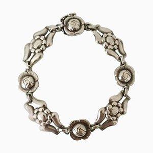 Sterling Silver No. 18 Bracelet with Flower Links from Georg Jensen