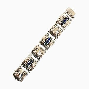 Sterling Silber No. 32 Bracelet with Synthetic Sapphire from Georg Jensen