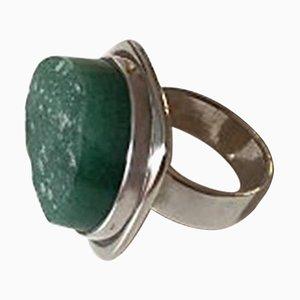 Ring aus Sterlingsilber mit grünem Stein von Bent Knudsen
