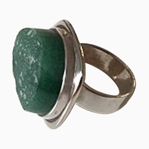 Sterling Silver Ring with Green Stone from Bent Knudsen
