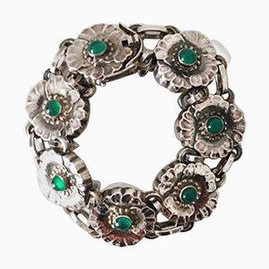 Sterling Silber Nr. 36 Armband mit Grünen Steinen von Georg Jensen