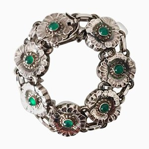Sterling Silver No. 36 Bracelet with Green Stones from Georg Jensen