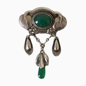 Frühe grüne Silber Brosche Steine von Evald Nielsen