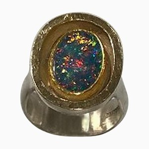 Sterling Silver & Gold Ring with Opal by Ole W. Jacobsen