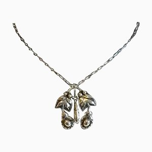 830 Silver Art Nouveau No 26 Necklace with Silver Stones from Georg Jensen