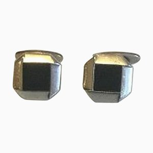 Sterling Silver Cufflinks with Black Onyx No 202 from Georg Jensen, Set of 2