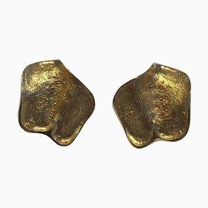 14 Carat Gold Earrings Clips by Ole Lynggaard, Set of 2