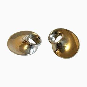 Pinzas para orejas Möbius Sterling Silver No 142 de Georg Jensen. Juego de 2