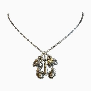 830 Silver Art Nouveau Necklace with Silver Stones No 26 from Georg Jensen