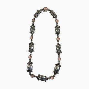 Sterling Silber & Rosenquarz Halskette für Georg Jensen