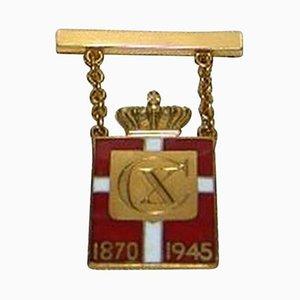 14 Karat Gold Kings Mark with Box from Georg Jensen, 1945