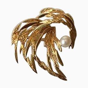 18 Karat Gold Brosche mit Perle von Georg Jensen & Wendel