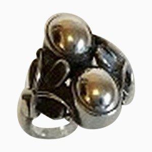 Sterling Silber Ring mit Zwei Silbernen Steinen Nr. 48 von Georg Jensen