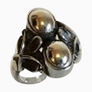 Sterling Silver Ring with Two Silver Stones No. 48 from Georg Jensen