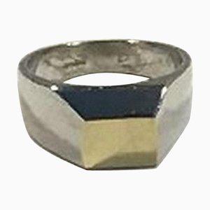 Sterling Silber Ring in Gold von Hans Hansen für Georg Jensen
