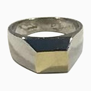 Sterling Silver Ring with Gold by Hans Hansen for Georg Jensen