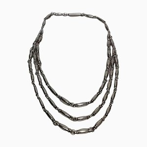 Sterling Silver Necklace 3 Rows No 40. by Henry Pilstrup for Georg Jensen