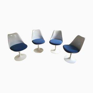 Blue Tulip Swivel Chairs by Eero Saarinen & Knoll, Set of 4