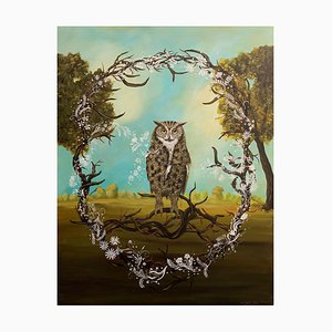Great Horned Owl, Anne Siems, Figurative Painting, Owl in Forest Landscape, 2018