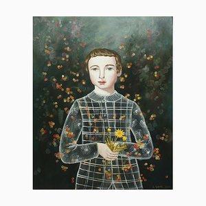 Boy with Calen, Anne Siems, Surreale Figurative Malerei, Junge mit Blumen, 2017