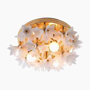 White Murano Glass & Gold Plated Chandelier, 1980s