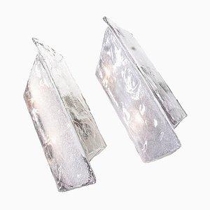 Large Murano Ice Glass Wall Sconces by Carlo Nason / J.T. Kalmar, 1960s, Set of 2
