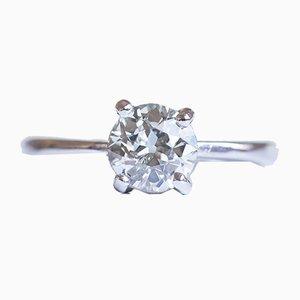 Antiker 18 Karat Weißgold & Diamant Solitär