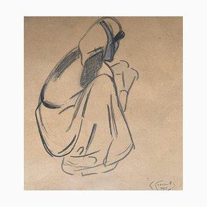 Fernande Cormier, Dessin d'une paysanne, 1918