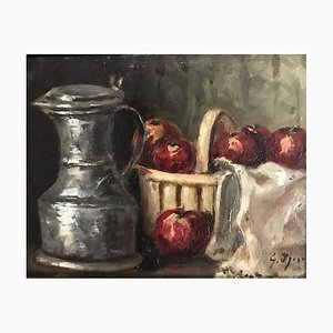 Georges Djakeli, 1950er Jahre Nature morte au pommes et à la channe