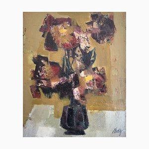 Frank Chabry, Flower Bouquet in Black Vase, 1971