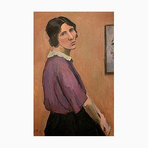 John Torcapel, Portrait d'une maman à the blouse violette, 1919