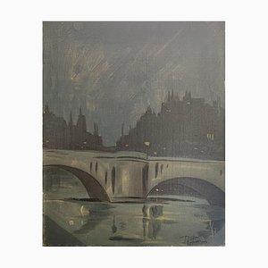 Roger Ferrero, Paris, le Pont Neuf la nuit, 1945