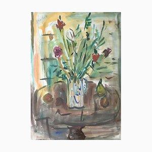 Alexandre Rochat, Bouquet in Jug and Fruit, 1958