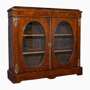 Antique English Empire or Regency Period Display Cabinet in Walnut & Boxwood