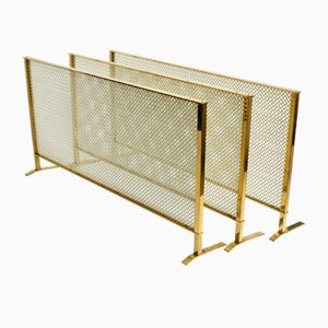 Mid-Century 3-Piece Radiator Covering in Brass and Perforated Sheet Metal from Vereinigte Werkstätten, Set of 3