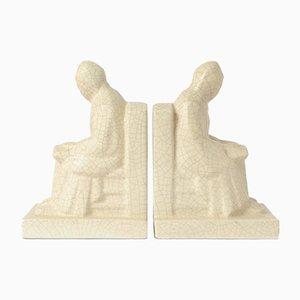 Crackle Glaze Ceramic Bookends from Ceramique De Bruxelles, Set of 2