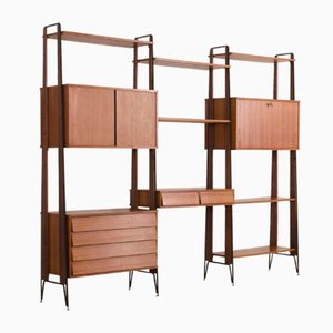 Italian Teak Wall Unit with Desk and Bar Cabinet, 1960s