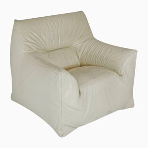 Leather & Foam Armchair in Cream, France, 1970s