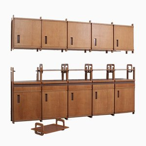 Vintage Two-Piece Beechwood Wall Cabinet, 1950s, Set of 2