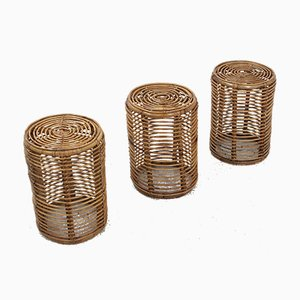 Vintage Rattan Side Tables by Tito Agnoli, 1960s, Set of 3