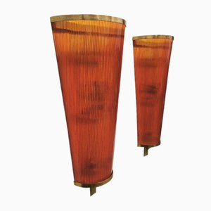 Mid-Century Wall Lamps in Orange Glass and Cone-Shaped Brass, Italy, 1960s, Set of 2