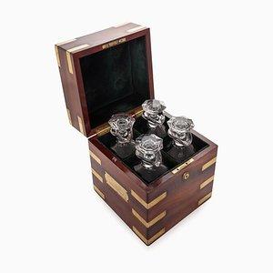 Antique Victorian Brass & Mahogany Campaign Decanter Box, 1870s