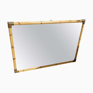 Hollywood Regency Bamboo and Brass Wall Mirror, 1970s