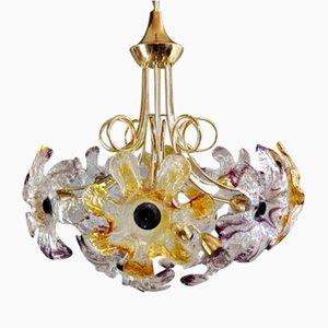 Plafonnier à 12 Lampes avec Fleurs en Verre de Murano et Cadre en Métal Doré de Mazzega, Italie, 1960s