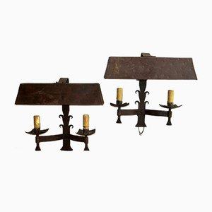 Patinierte Mid-Century Wandlampen aus Eisen für Außenbereich, 2er Set