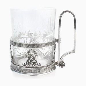 Russian Solid Silver Tea Glass Holder from Faberge, Moscow, 1900s